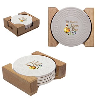 Housewares1648 round greek key absorbent stone coaster set - Stone absorbent coasters ...